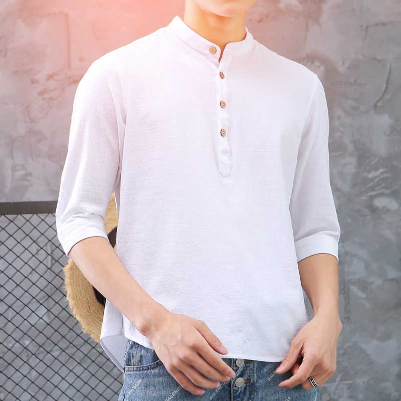 2018夏季新款纯棉男士短袖棉麻衬衫免烫水洗休闲衬衣纯色中袖男装_天猫超市优惠券