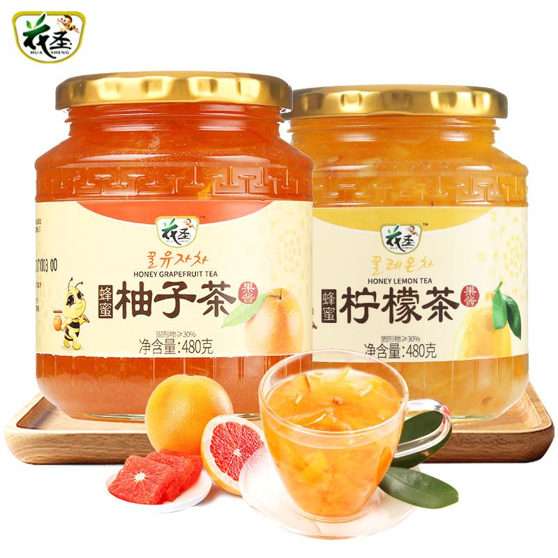 花圣蜂蜜柚子茶柠檬茶480g*2瓶冲泡水果茶酱韩国风年货泡水冲饮品