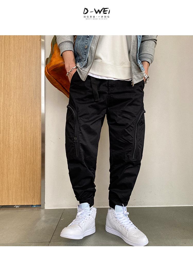 大東男裝到位男裝美式設計感休閒褲男春季潮流束腳長褲大口袋高街蘿卜褲潮