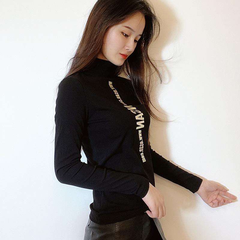 半高领打底衫女春秋款长袖T恤女贴身纯棉上衣时尚洋气字母小衫潮