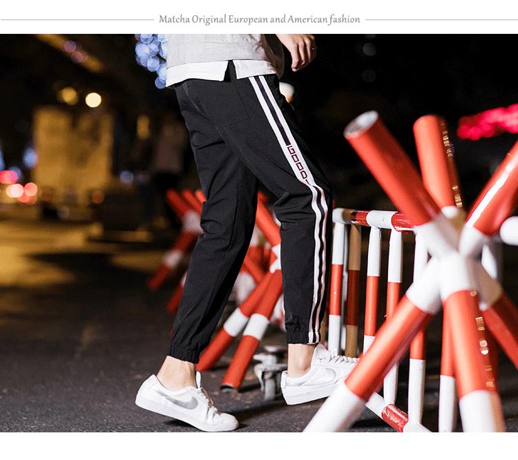 夜景黑色 薄款宽松字母学生运动休闲裤B275-B217-P45锦90%氨纶10%