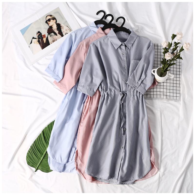 2018 mùa hè mới của Hàn Quốc phụ nữ đơn giản sọc tie eo đơn ngực váy váy EY