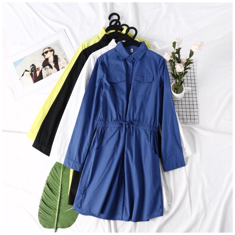 Mùa hè mới của phụ nữ Han Fan đầy đủ đơn ngực lỏng ren dài tay thời trang đầm đầm EY