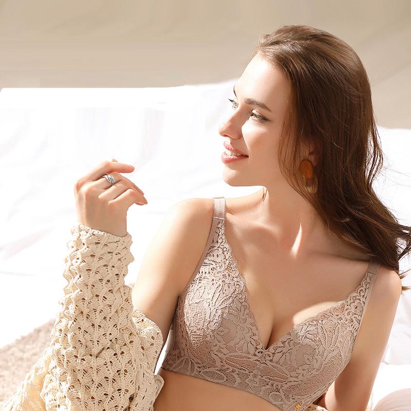 雪妮芳性感蕾丝薄款无钢圈内衣女薄款文胸罩,大胸mm的福音
