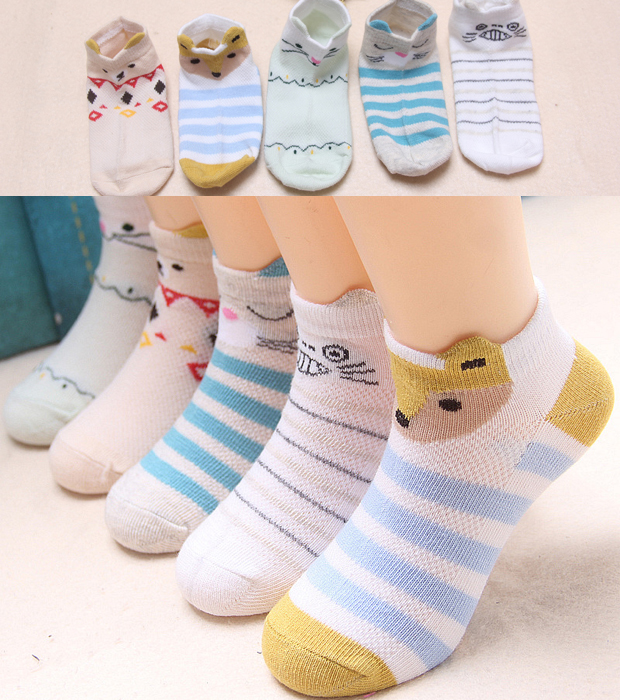 FIVE PAIRS OF SUMMER THREE-DIMENSIONAL ANIMAL BOAT SOCKS