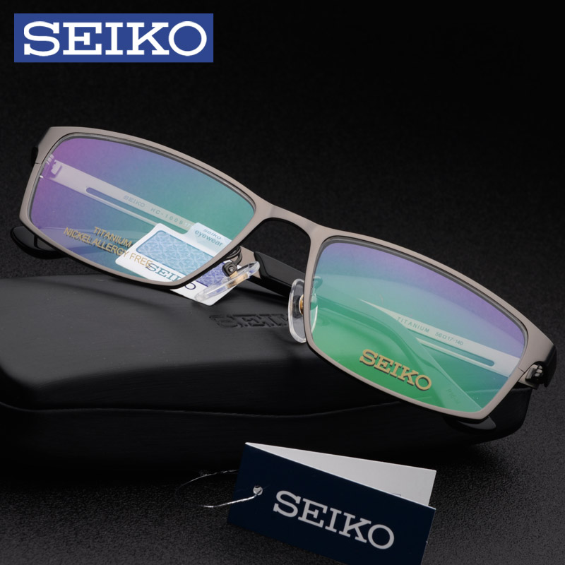 442255e4229 ... Seiko Seiko glasses frame men Ultra light business big face pure  titanium full frame glasses frame