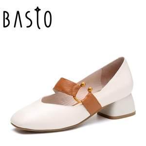 BASTO/百思图2018春季专柜同款小V口方头奶奶鞋女皮鞋RBG24AQ8