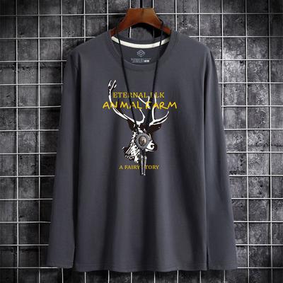纯棉男士长袖T恤新款圆领宽松衣服韩版潮流大码体恤打底衫男t
