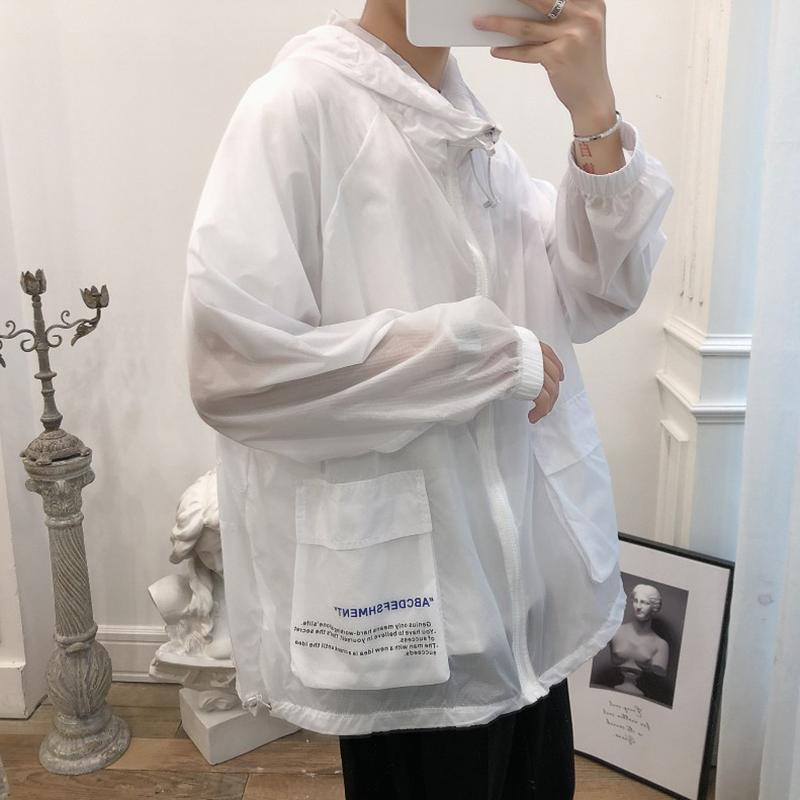 夏季韩版印花透气衣防晒薄款防晒服风衣速干v风衣夹克外套皮肤男潮