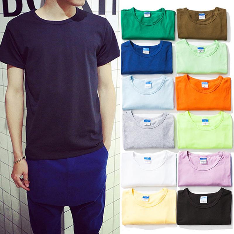 夏季纯色简约宽松短袖T恤男士加大码半袖打底衫日系青少年潮男装