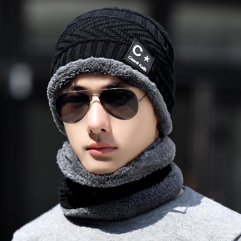 冬季加厚棉保暖针织毛线帽男带围脖