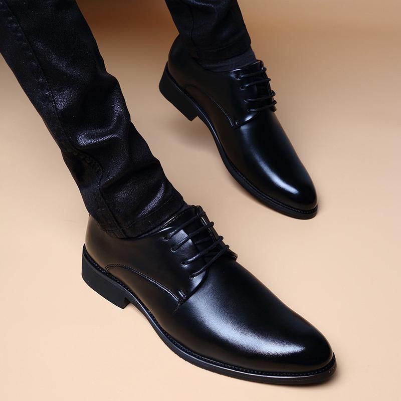 秋冬季韩版商务休闲透气系带内增高皮鞋男潮流英伦真皮尖头正装鞋