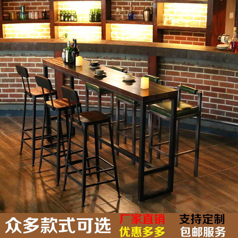 USD Simple Retro Wrought Iron Solid Wood Bar Table Home Long - Long cafe table