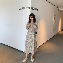 Long-sleeved floral dress 2020 spring new Korean retro waist slim round neck lantern sleeve long skirt