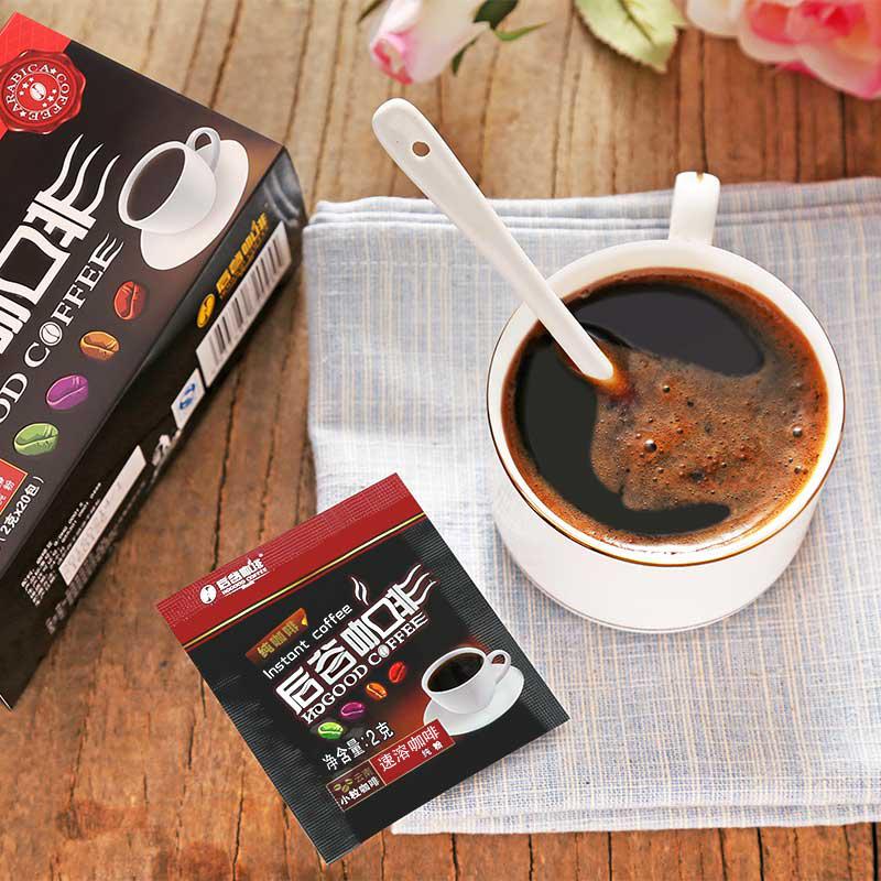 金砖五国峰会专供品牌 后谷 无蔗糖纯黑速溶咖啡粉2gx40袋