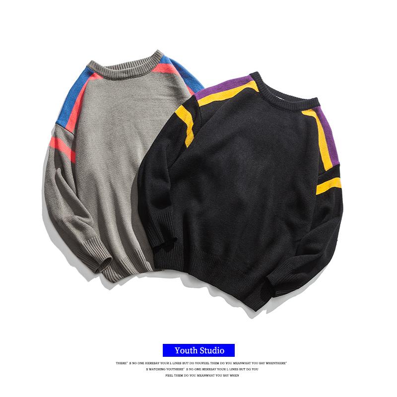 日系男生毛衣圆领宽松套头针织衫潮流青少年落肩撞色打底粗线衣