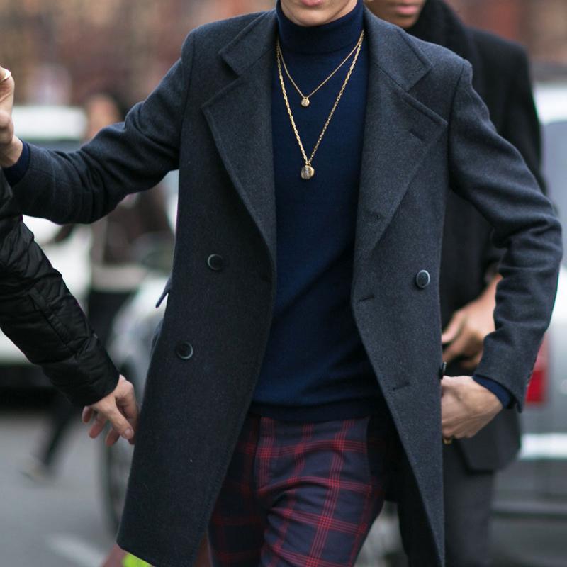 设计师男士英伦双排扣外套大衣毛呢经典简约羊毛秋冬品牌风衣经典