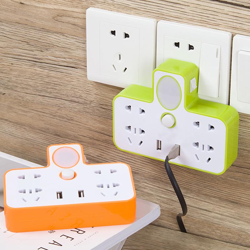 带夜灯多功能插座排插转换器USB充电家用一转多孔电源开关插板