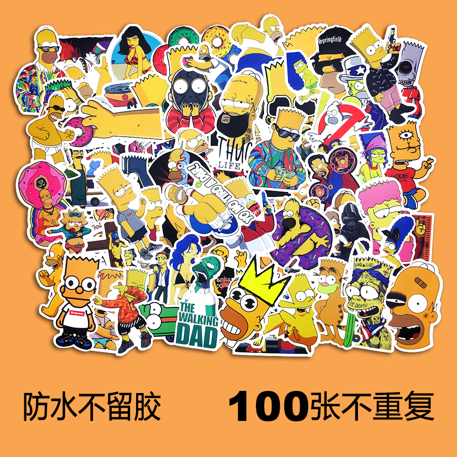 Simpsons Suitcase Suitcase Stickers Refrigerator Cute Travel Stickers Cartoon Waterproof Graffiti Stickers Clear