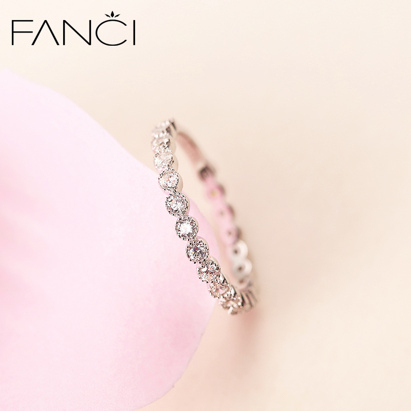 Fanci Fan Qi Tail Ring Silver Finger Female Drill Wild Girls Color Gold Couple Birthday Gift Girlfriend