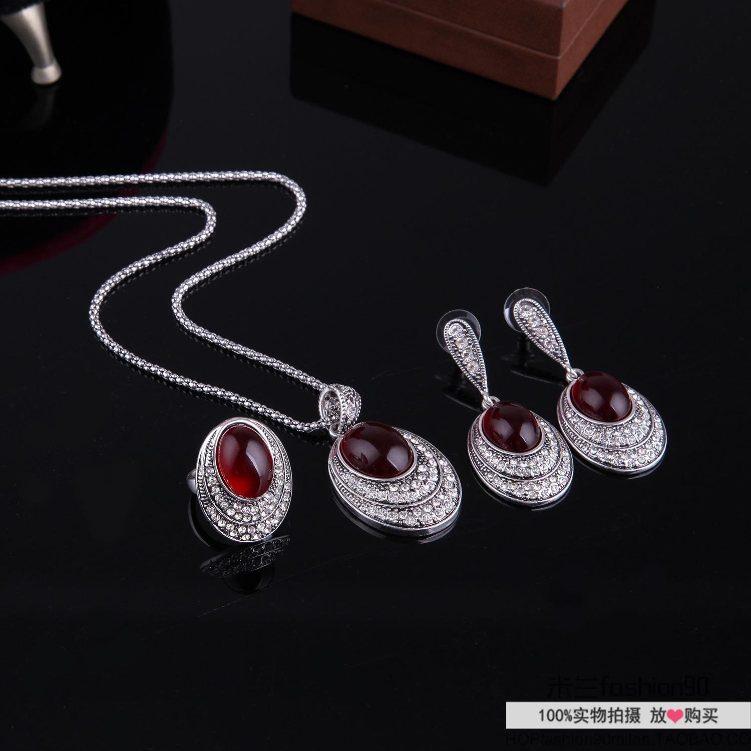 Ожерелье OTHER  Retro Ruby Earring Women Long Necklaces Jewelry Rings