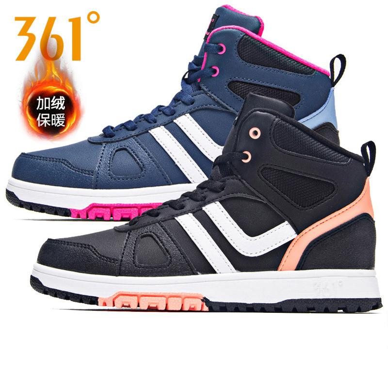 Giày nữ 361 độ cộng với giày thể thao 2018 mùa đông mới 361 cộng với giày nhung bằng vải nhung cao cấp giúp giày ấm