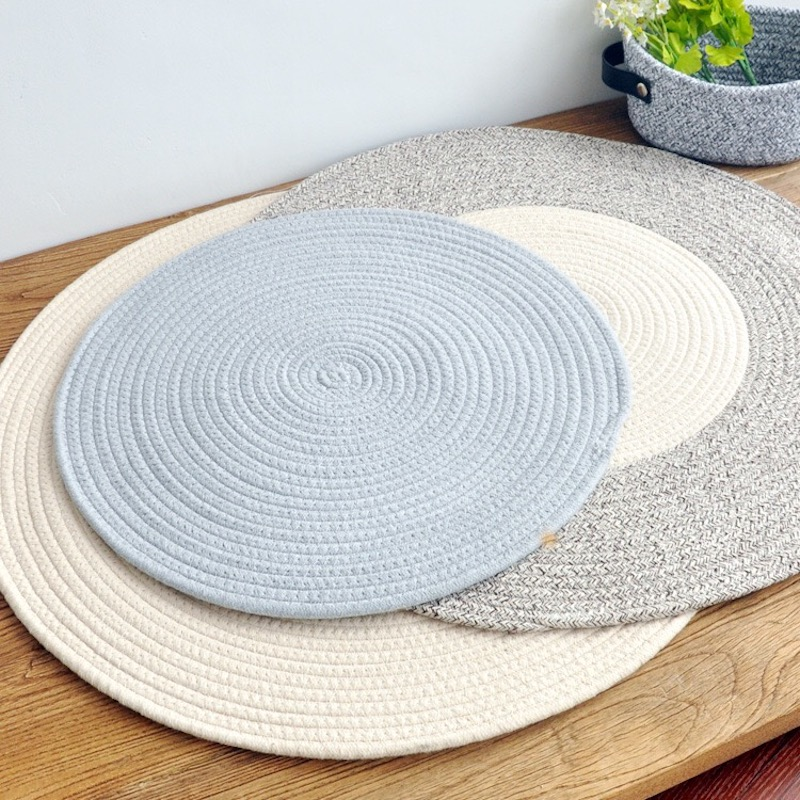 北欧日式素色地毯简约茶几桌垫加厚棉线沙发垫床边垫圆形垫