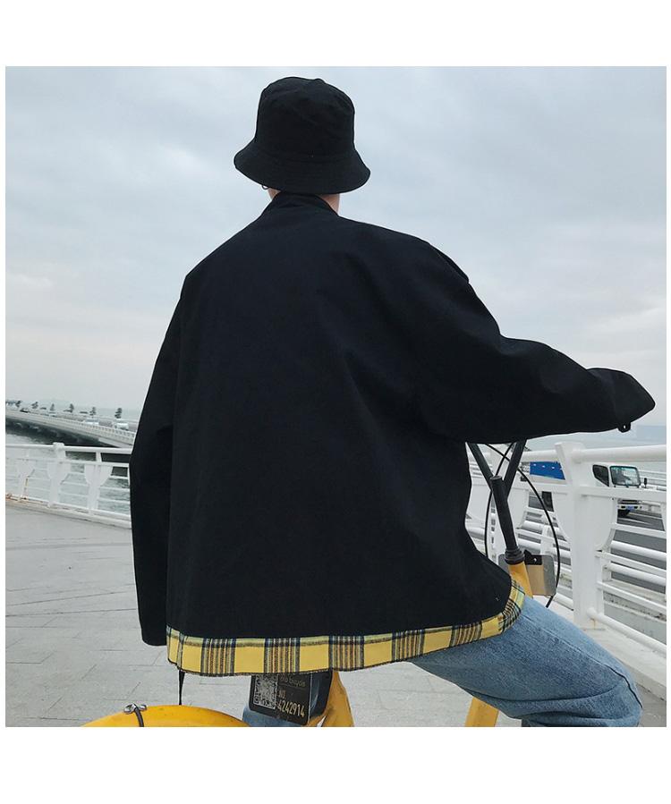 19/秋装 港风复古休闲工装夹克 格子拼接撞色宽松外套 JK6677/P85