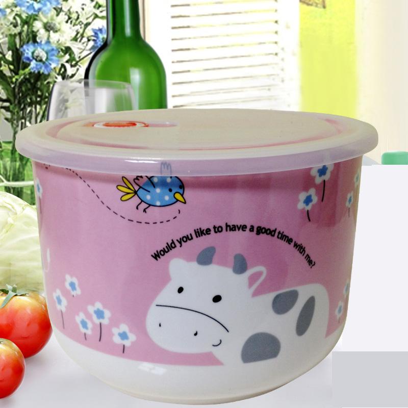 陶瓷保鲜碗带盖 冰箱微波炉适用特大号保鲜盒饭盒 汤碗餐具储物罐