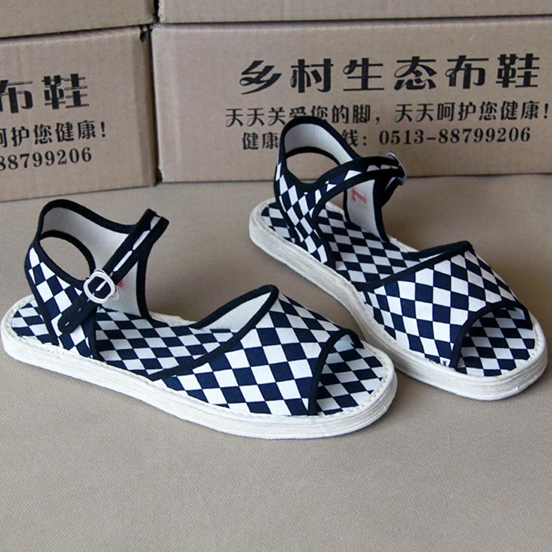 老北京春夏秋季女单鞋平跟软底千层底布底学生鞋露趾扣带时尚凉鞋