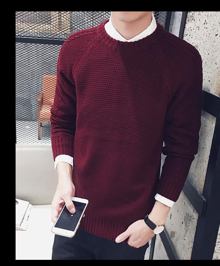 高仿圣罗兰ysl冬季毛衣男士针织衫纯色韩版圆领JXN159 第13张