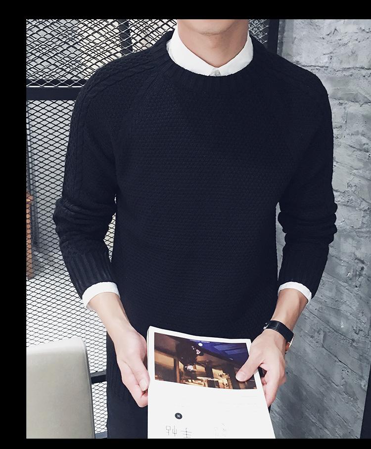高仿圣罗兰ysl冬季毛衣男士针织衫纯色韩版圆领JXN159 第18张