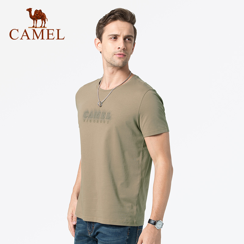 Camel brand men's summer new printing casual T-shirt short-sleeved men's round neck bottoming shirt half-sleeved shirt compassionate men