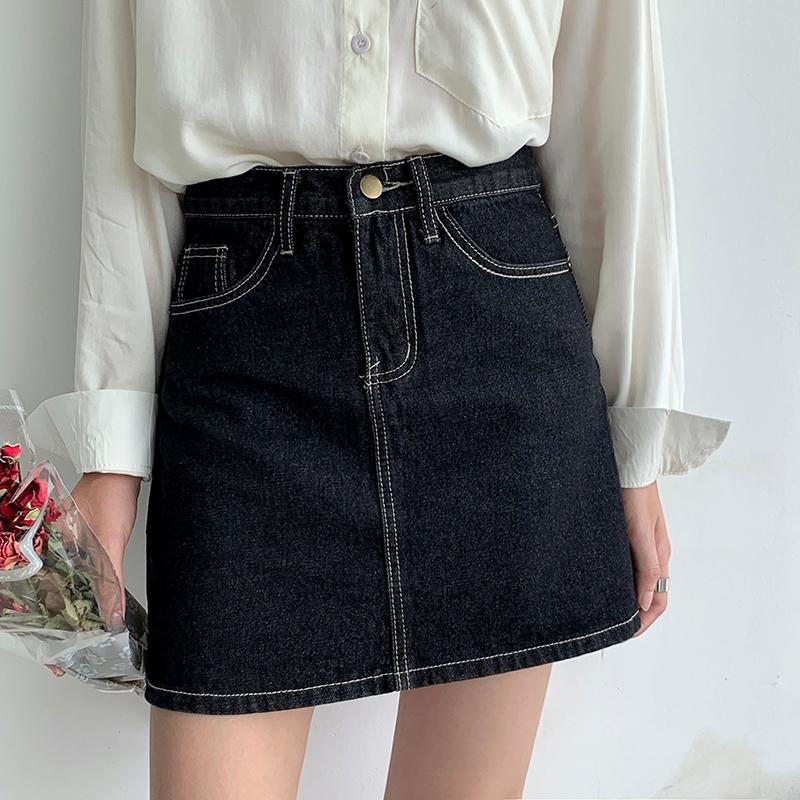 短款裙子女高腰明线包臀半身裙小众秋冬新款显瘦黑色牛仔a字短裙