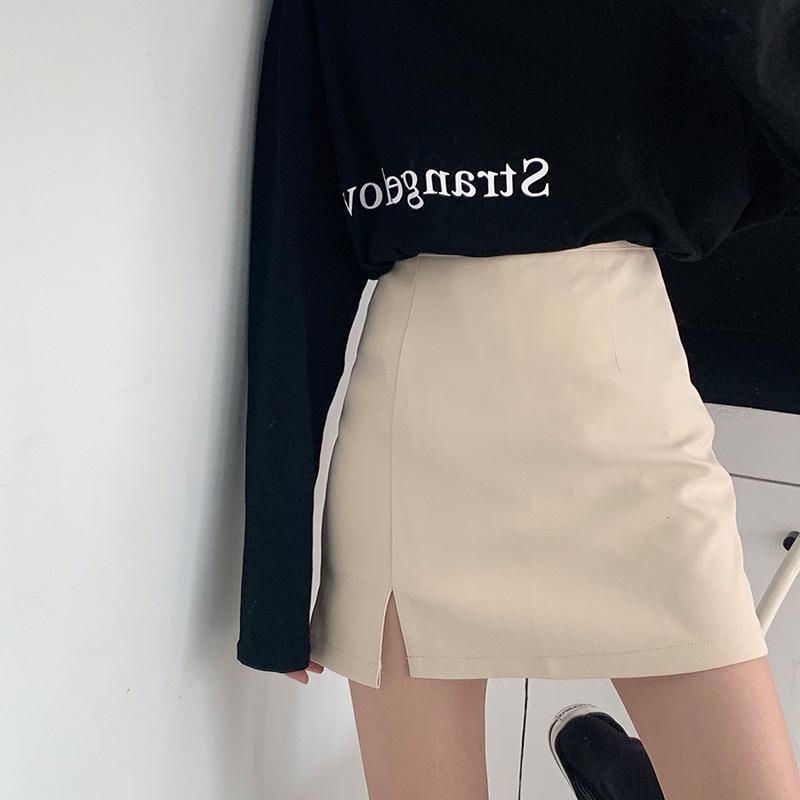 短裙女杏色短款秋冬小个子百搭高腰a字半身包裙子开叉黑色包臀裙