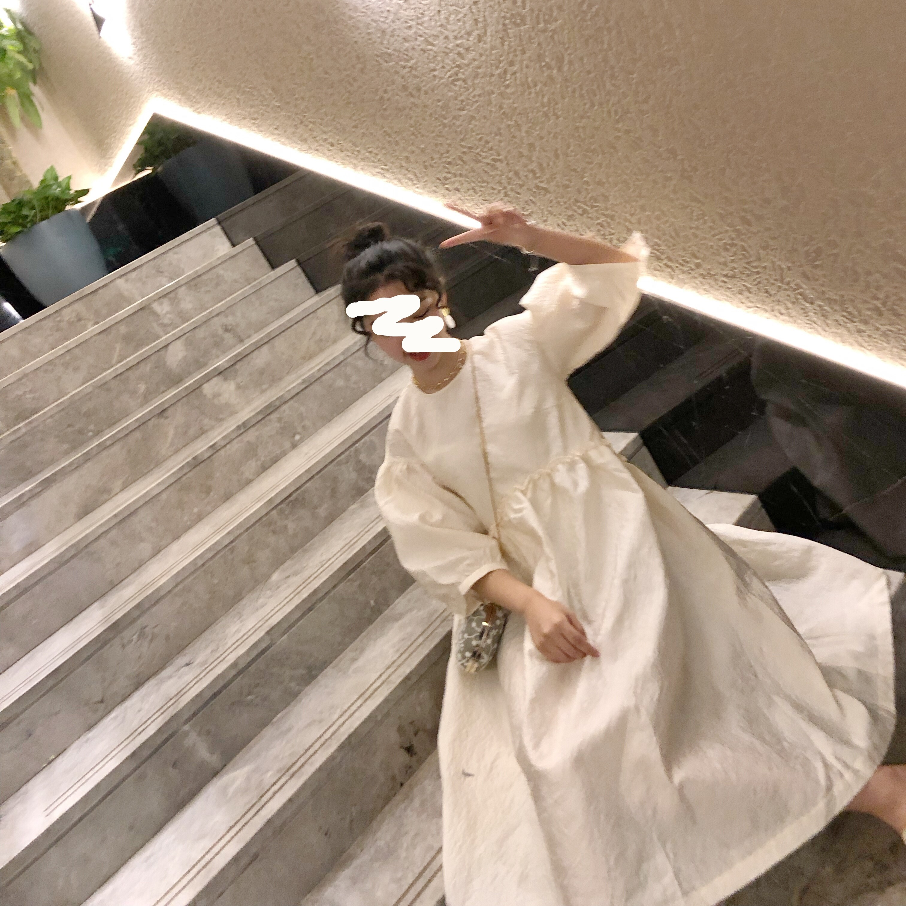 【13C】公主宽松宫廷中长款A字圆领袖泡泡裙19夏季新款连衣裙HD52