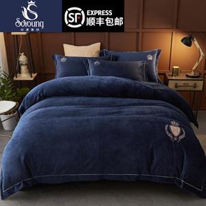 欧式珊瑚绒四件套双面绒加厚水晶棉绒冬季床上用品法兰绒被套床单