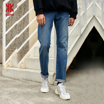 Kama KAMA spring and summer cotton loose casual straight jeans male trousers 2116333
