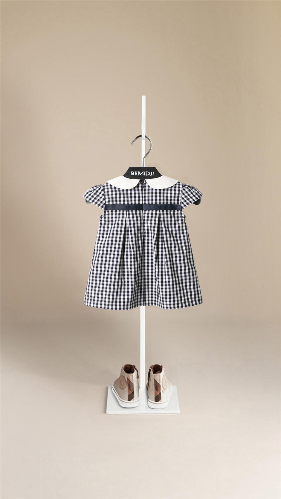 儿童格子连身裙女童纯棉公主裙夏装婴儿娃娃领短袖裙卡其色网红裙详细照片