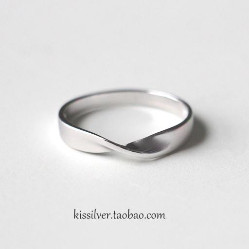 免费刻字 S925纯银磨砂莫比乌斯环戒指 简约情侣对戒戒指指环男女