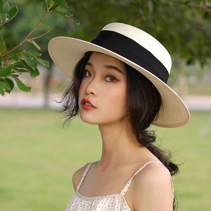2fe13c710efc7 Early sunny elegant French straw hat female travel shopping shading wide  eaves hat Japan imported grass hand-woven summer