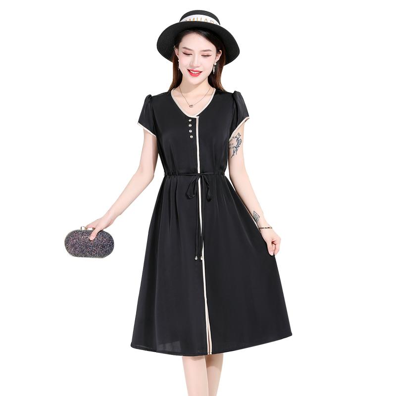 欧诗曼锦短袖V领雪纺连衣裙2021夏季新款时尚系带收腰显瘦中长裙