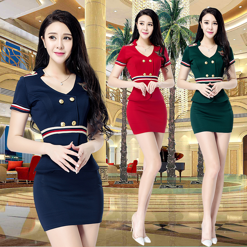 2a2bef69214e Sexy thin Foot Spa Club technician suits short-sleeved beauty spa hotel KTV  overalls breathable