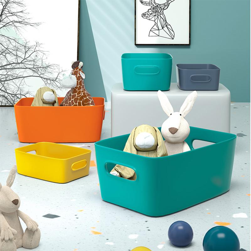多色桌面收纳盒子客厅厨房置物盒宿舍零食筐杂物分类整理箱储物盒
