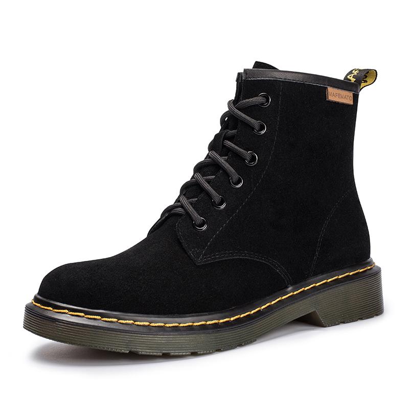马丁靴女冬加绒保暖英伦风女鞋2019新款方跟真皮女靴帅气复古短靴
