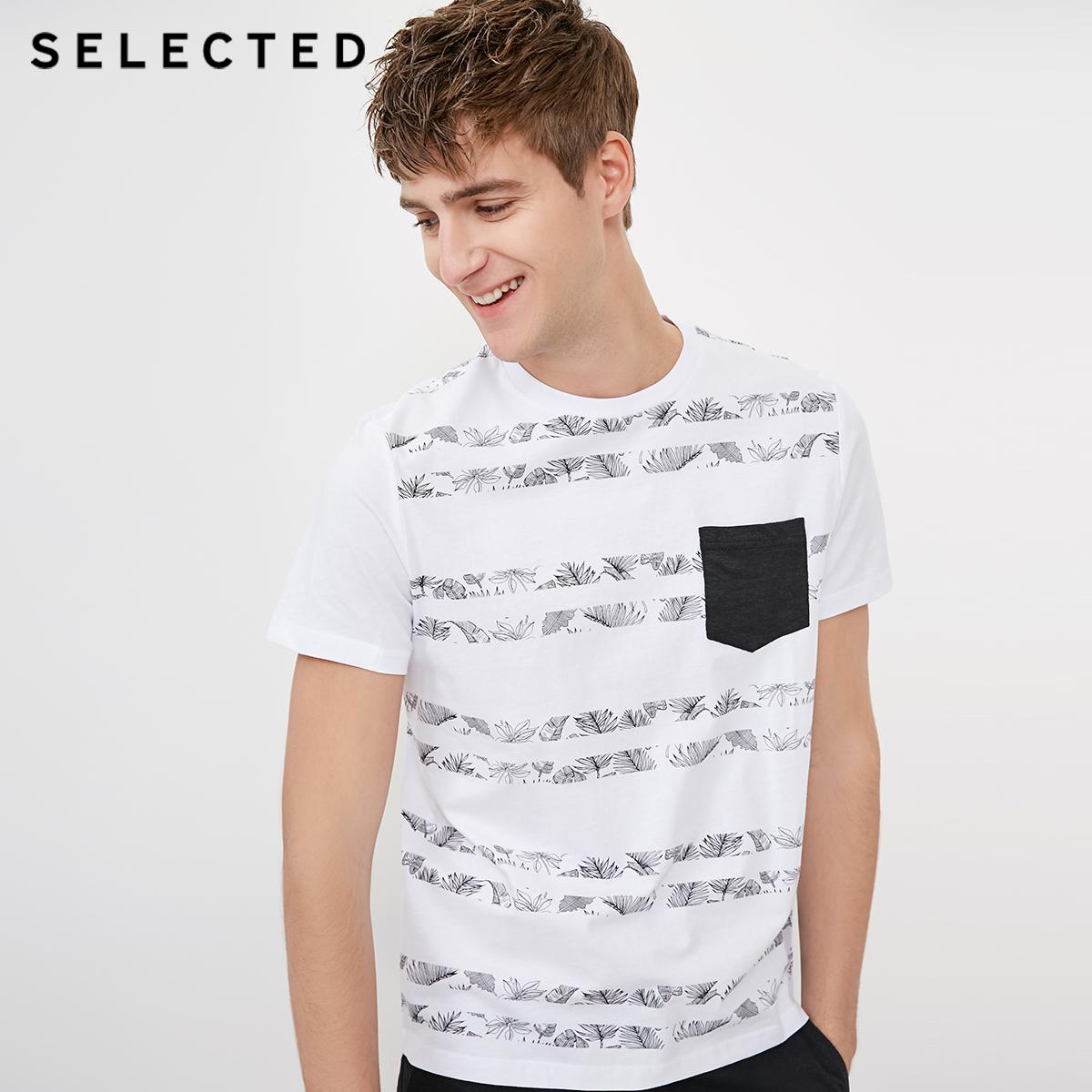 SELECTED мысль сорняки мораль новый человек хлопок печать круглый вырез бизнес повседневный короткий рукав T футболки C|4182T4572