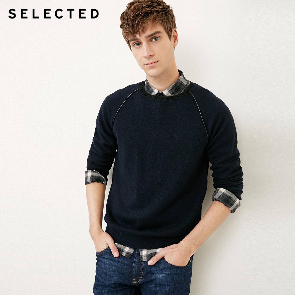 Собирать SELECTED мысль сорняки мораль бараны волосы твердый сращивание круглый вырез мужской свитер свитер S|418124546