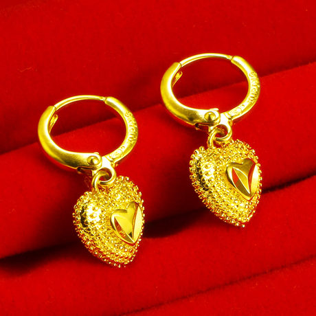 Genuine gold earrings 9999 pure gold female love heart-shaped couple earrings real gold jewelry small earrings earrings mother