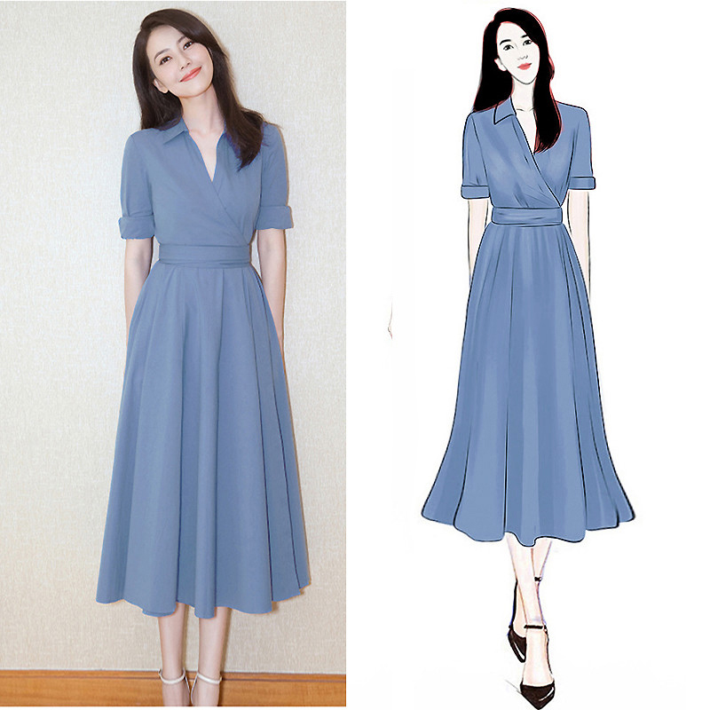 5f507933d2b Large size women s summer dress 2019 new cover belly France niche foreign  dress fat mm very fairy thin skirt