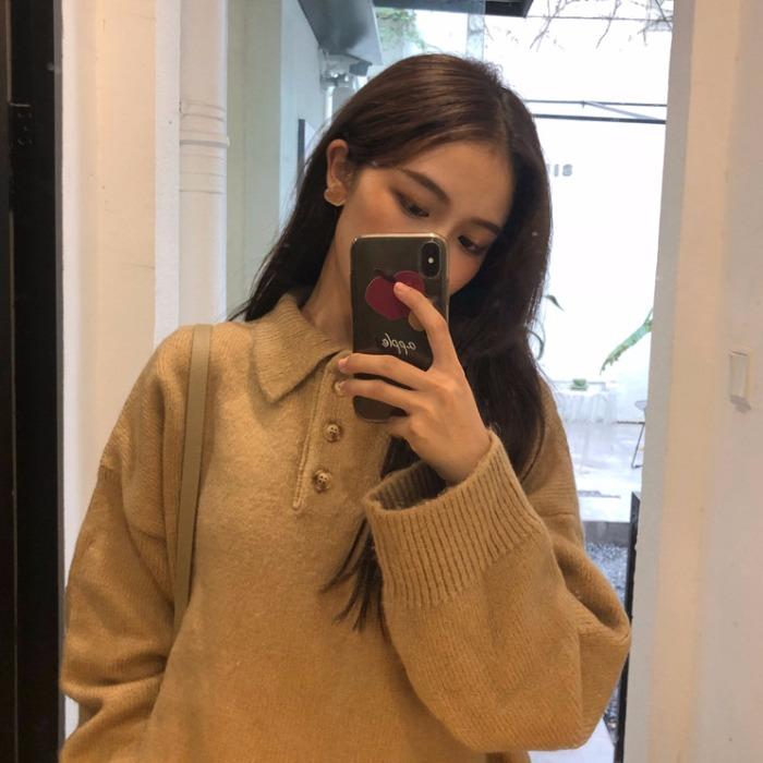 秋冬季新款韩版超火毛衣女慵懒风宽松百搭POLO领套头长袖针织衫潮